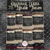 Editable Grammar Posters Steampunk Theme 75 Grammar Terms