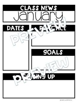 Editable Graphic Organizer & Newsletter Starters