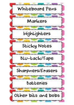 Editable Gratnells Tray Labels - Rainbow Pop