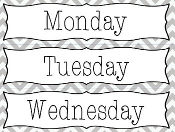 Editable Gray Chevron Drawer Labels - File, Copy, Grade, Days of Week