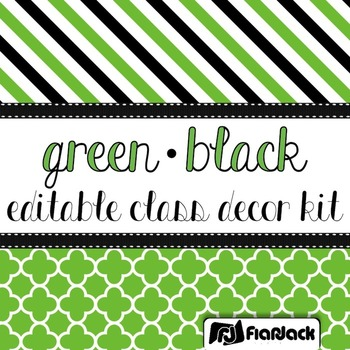 Editable Green Black Color Scheme Class Decor Kit