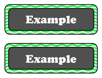 Editable Green Chevron Labels