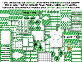 Editable Green Class Decor Kit