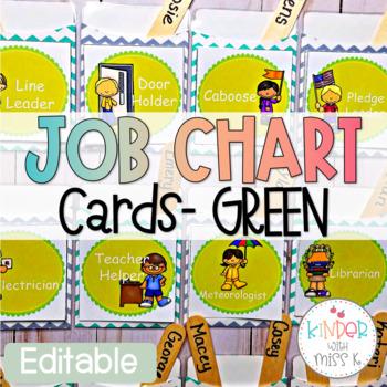 Editable Green Job Chart Cards