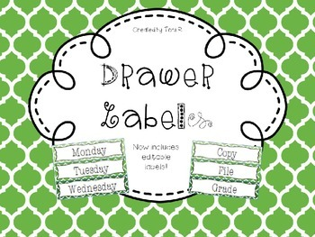 Editable Green Moroccan Drawer Labels - File, Copy, Grade,