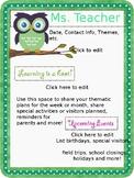 Editable Green Owl Newsletter