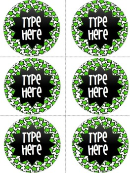 Editable Circle Labels-Green Star Round Labels