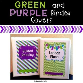Editable Green and Purple Binder Covers