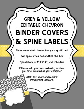 Editable Grey Chevron and Yellow Binder Covers and Spine Labels