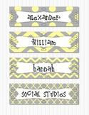 Grey and Yellow Editable Dot Chevron Nameplates, Labels, Bulletin Board