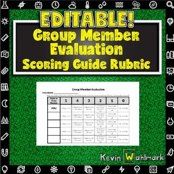 Editable Group Member Evaluation Scoring Guide Rubrics