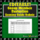Editable Group Member Evaluation Scoring Guide Rubrics