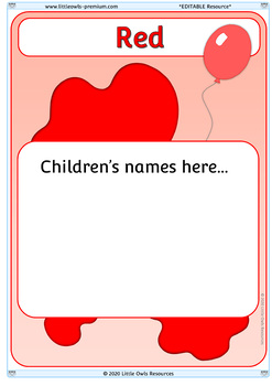 Editable Group Posters - Colors (Topic, Guided Reading, Math, Literacy)