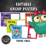 Editable Guided Reading Group Posters - Owls