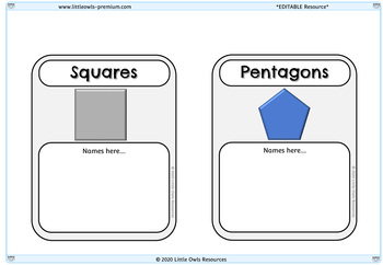 Editable Group Posters - Shapes (Topic, Guided Reading, Math, Literacy)