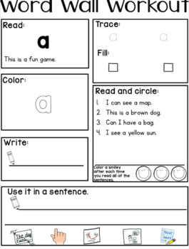 Editable Growing Bundle Word Wall Workout