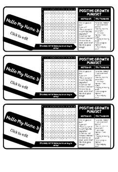 Editable Growth Mindset Desk Labels