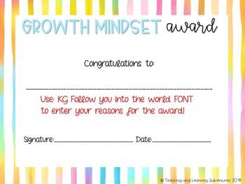 Editable Growth Mindset awards