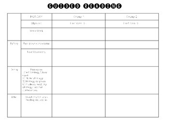 Editable Guided Reading Lesson Plan Template