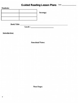 Editable Guided Reading Organization Forms