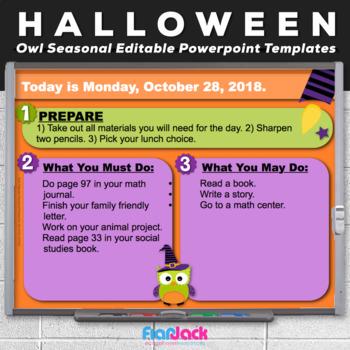 Editable HALLOWEEN Owl Themed Morning Work PowerPoint Templates