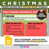 Editable HOLIDAY Owl Themed Morning Work GOOGLE SLIDES Templates