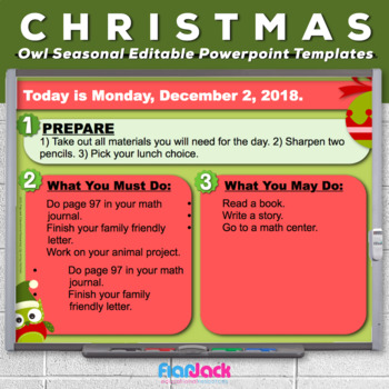 Editable HOLIDAY Owl Themed Morning Work PowerPoint Templates