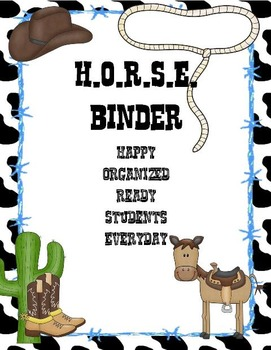 Editable H.O.R.S.E. Binder Cover Western Theme