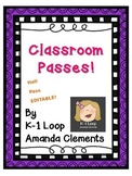Editable Hall Passes!! FREE