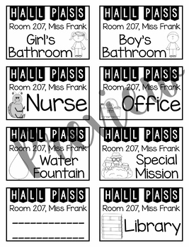 Editable Hall Passes (Color and Black and White)