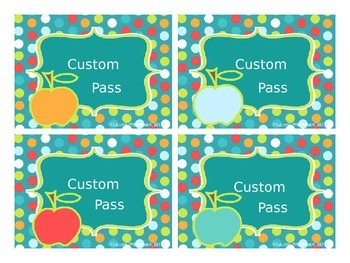 Editable Hall Passes for Dots on Turquoise Lovers