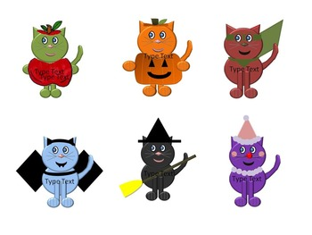 Editable Halloween Cat Labels and Clip Art for your Classroom and Home!