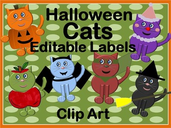 Editable Halloween Cat Labels and Clip Art for your Classr