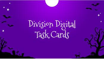 Editable Halloween Digital Task Cards for Division-Google Classroom