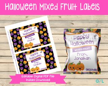 Editable Halloween Mixed Fruit Snack Bag