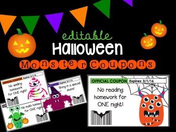 Editable Halloween Monster Coupons
