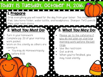 Editable Halloween Morning Work/Message Template