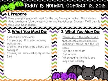 Editable Halloween Morning Work/Message Template