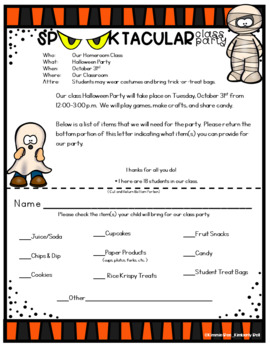 Editable Halloween Party Letter