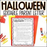 Editable Halloween Party Parent Letter