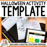 Editable Halloween Stations and Coloring Page