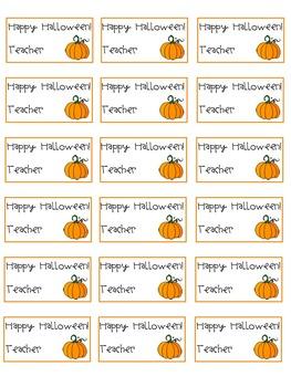 Editable Halloween Tags from the Teacher