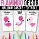 Editable Hallway Passes, Bathroom Passes, Flamingo Classroom Theme