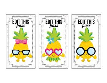 Editable Hallway Passes, Bathroom Passes, Pineapple Classroom Theme