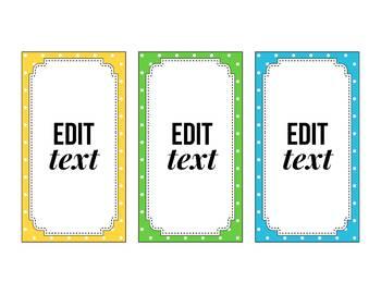 Editable Hallway Passes, Bathroom Passes, Polka Dot Classroom Theme