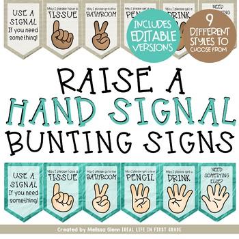 Editable Hand Signal Bunting Sign