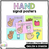 Editable Hand Signal Posters - Pastel Colors