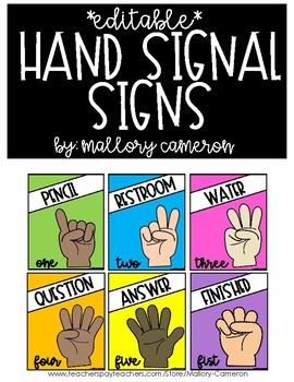 Editable Hand Signal Signs