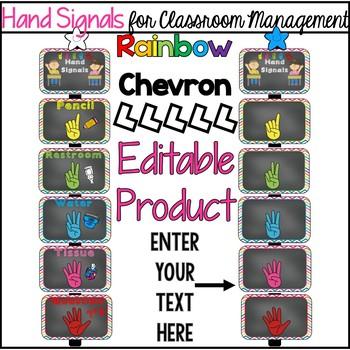Editable Hand Signals: A Classroom Management Tool (Rainbow chevron)
