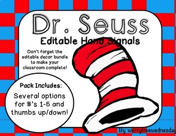 Editable Hand Signals (Dr. Seuss Inspired)